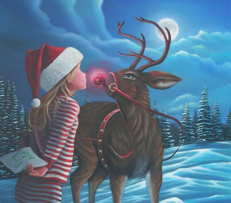 Rudolph kiss - red, luna, craciun, christmas, geno peoples, kiss, hat, santa, moon, copil, reindeer, night, blue, letter, rudolph