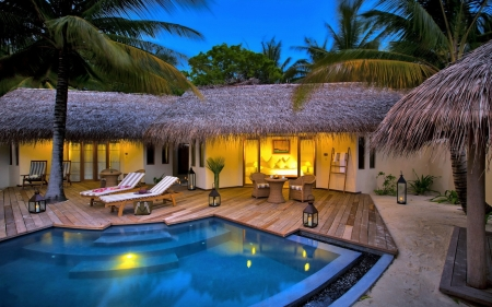 Evening in Resort - resort, house, pool, palms, terrace