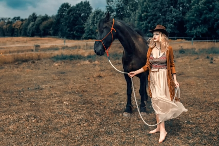 Cowgirl with her Horse