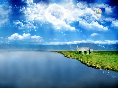 Hot Balloon Over Lakes - Sky, Balloon, Clouds, Lakes, Hot, Nature