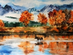 Autumn landscape with a moose