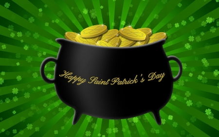 Happy St. Patrick's Day - Saint Patricks Day, pot, coins, pot of gold, clovers, St Patricks Day, gold, shamrocks, gold coins, Patricks Day