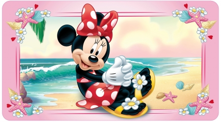 Minnie Mouse - red, beach, dot, minnie mouse, summer, bow, sea, disney