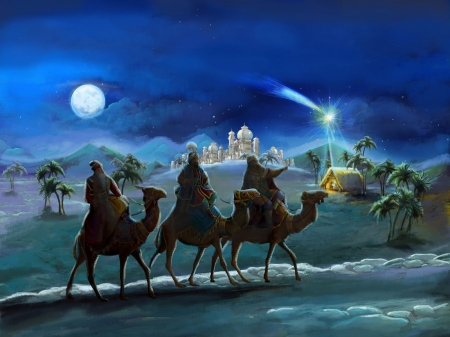 Wisemen - christ, moon, jesus, wisemen, bible, camel, night