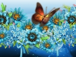 Blossoms Blue Butterfly Bright