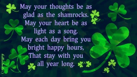 Irish Saying for Saint Patrick's Day - clovers, Saint Patricks Day, green, c1over, Irish, smiles, shamrocks, shamrock
