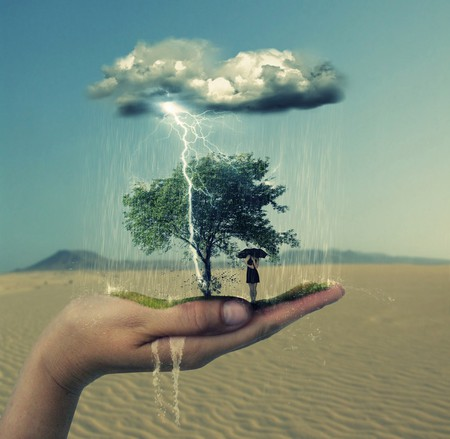 Force of Nature on my Hand - force of nature, female, desert, thunder, umbrella, abstract, tree, fantasy, 3d, sand, water, girl, hand, rain