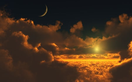 Sunset over the clouds - color, billows, sun, red color, blue, horizon, moon, clouds, skies, up, sky, sunset, nature, cloudscape