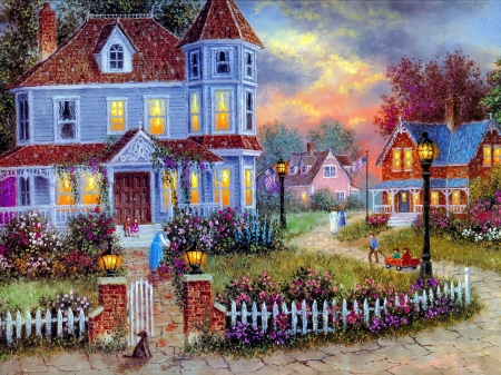 American holiday - pretty, house, cottage, home, beautiful, american, countryside, painting, flowers, village, street, art, lanterns, holiday, spring, peaceful, lane
