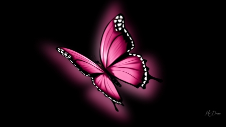 Glowing Pink Butterfly Butterflies Animals Background