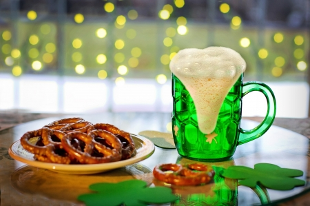 Green Beer & Pretzels - saint pattys day, hoilday, green, pretzels, beer