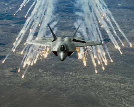 F-22 Raptor Deploying Flares - photo, us military, fighter, military, raptor, jet, flares, f22