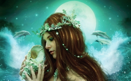 Seashell - luna, seashell, vara, fantasy, moon, girl, summer, enchantedwhisper, siren, blue