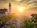 Portland HeadLight at Sunset,USA