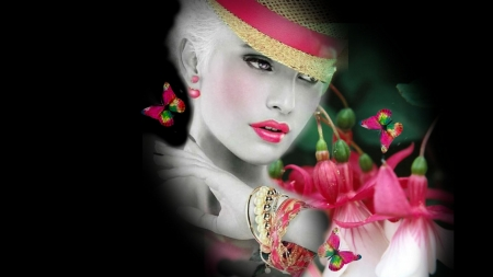 La Femme Coral Bells And Butterflies 3d And Cg Abstract