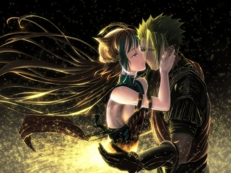 Archer of Red & Achiles - pretty, dress, beautiful, woman, sweet, kiss, love, anime, ssaprkles, anime girl, prretty, long hair, couple, lovely, female, male, anime couple, man, hug, girl, lady