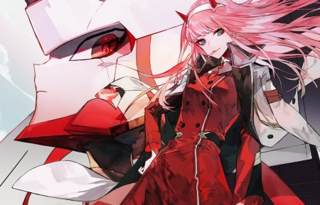 Zero Two - red, pretty, beautiful, woman, horns, sweet, Sterlizia, mecha, anime, beauty, anime girl, long hair, female, lovely, smile, cute, demon, girl, uniform, lady, pink hair