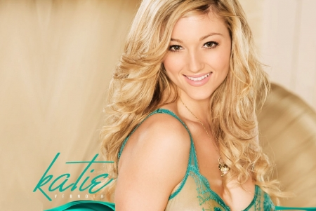 Katie Vernola - blonde, necklace, turquoise trimmed sheer lingerie, brown eyes