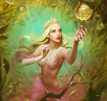 Forbidden Fruit - fantasy woman, dress, priestess, beautiful, woman, leafs, fantasy, green, beauty, fuits, long hair, pink, tiara, forest, female, golden, blonde hair, abstract, sparkles, tree, crown, lady