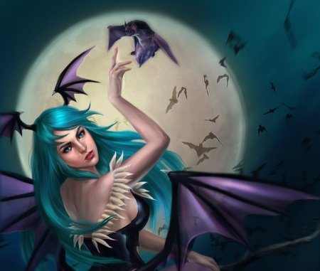 Morrigan - art, wings, luminos, luna, tarivanima, fantasy, moon, girl, green, purple, bat, hand, vampire, morrigan, blue