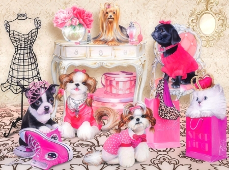 Fashion Pets - love four seasons, spring, pets, accessories, puppies, paintings, decorations, love, summer, fashion, dogs, animals