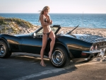 Bikini Model and her '69 Corvette Stingray