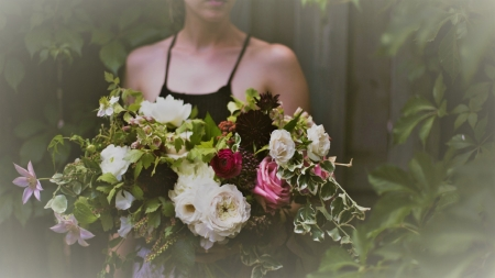 ❤ - forest, girl, bouquet, flowers, giving, beauty, trees, for you
