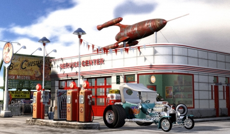 Rocket Service Center - center, rocket, service, hot rod, pumps, car, station, gas