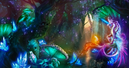 Fairy Wood of Wonders_Unicorn - pretty, art, fantasy, digital, beautiful, fairy