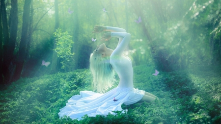 Nature Harmony - forest, sunlight, happiness, magical, peaceful, butterflies, trees, women