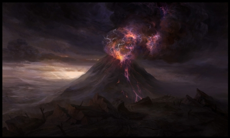 Volcano by Christophe Vacher - world, fantasy, christophe vacher, luminos, eruption, transformers, volcano, pink