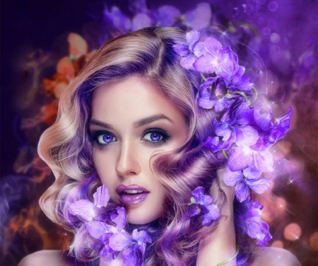 Aroma of Purple - violets, love four seasons, spring, creative pre-made, woman, digital art, fantasy, photomanipulation, purple, people, weird things people wear, flowers