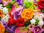 Colorful Bouquet of Spring Flowers