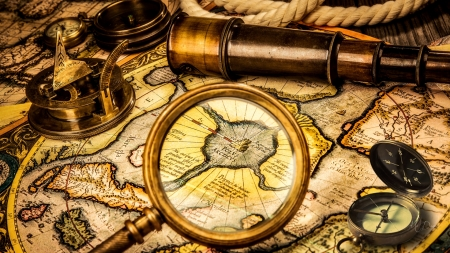 Found on a Ship - sepia, sundial compass, ap, magnifying glasses, rope, compass, navigate, ship, telescope, map, Firefox Persona theme, vintage