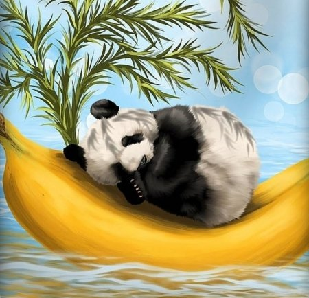 Sweetly cradled - art, luminos, black, yellow, bear, fruit, panda, fantasy, cub, banana, white, veronica minozzi, blue