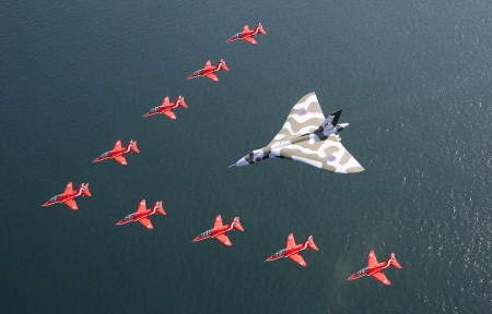 Avro Vulcan With The Red Arrows - red, formation, military, bomber, planes, display, arrows