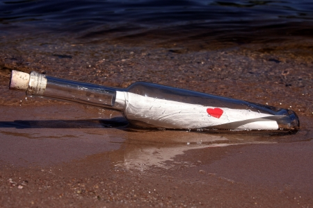 ❤ - beach, message, photography, bottle, abstract