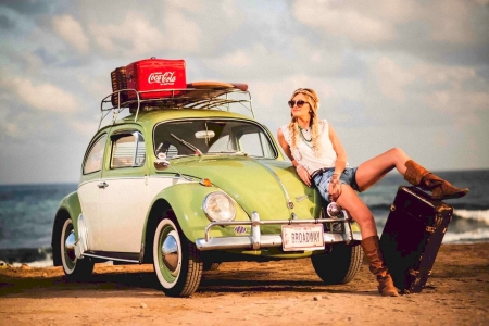 Beetle on The Beach - photo, beach, vw, car, oldie, vintage