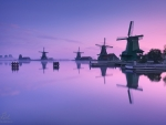 Windmills During Winter in Zaandam the Netherlands
