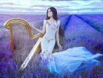 Woman With Harp in Lavender Field