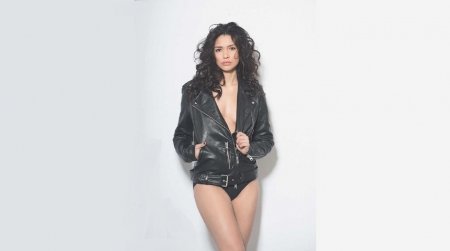Miranda Rae Mayo - both black, dark hair, underwear, leather jacket