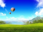 Hot Air Balloons Above the Green Field