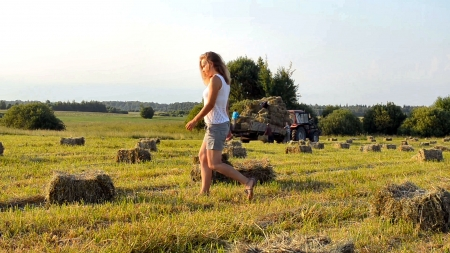 Ranch Work . . - female, cowgirl, ranch, outdoors, women, hay bales, truck, field, blondes, western, working