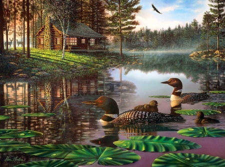 Northern Tranquility - lakes, loons, love four seasons, attractions in dreams, spring, paintings, summer, nature, cabins