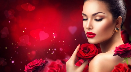 Pretty face - Model, Woman, Roses, Photography