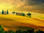 Landscape in Tuscany at Sunset in Summer, Italy