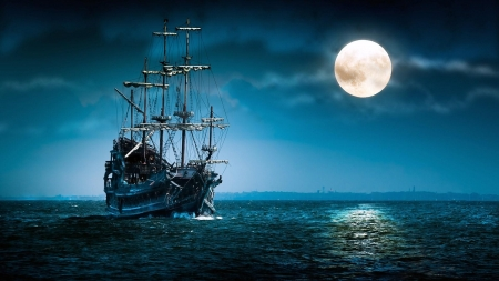Ghost Ship in the Moonlight - ocean, sea, sky, moon, ship, calm, ghost, sail, brig, vintage