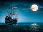 Ghost Ship in the Moonlight