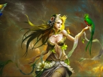 Summer Fairy and Parrots