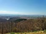 view from mountain capital city pristina